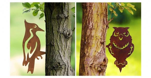 2 WENKO Baum Stecker aus Metall in Rost Optik Specht & Eule, Garten Deko Sticker
