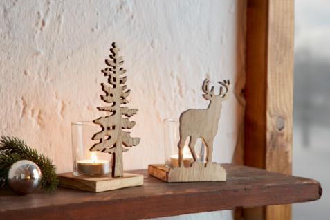 2er Teelicht Halter 'Tanne & Hirsch? Metall Kerzen Ständer Windlicht Weihnachten