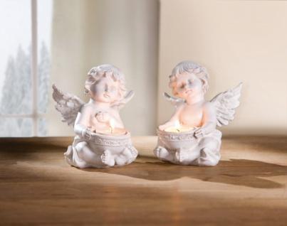 2er Teelichthalter 'Engel? weiß Deko Figur Kerzen Halter Ständer Windlicht
