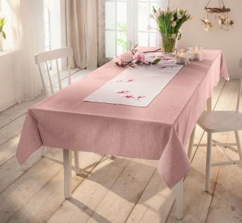 """Tafel Decke """" Rosenquarz"""" in rose, 140x240 cm, in Leinen Optik, Tisch Tuch Wäsche"""