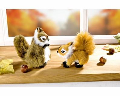 2er Set Deko Eichhörnchen mit flauschigem Fell, Mini Plüsch Tiere Tier Figuren