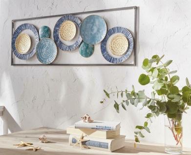 "Wand Bild "" Kreise"" aus Metall blau / gold Shabby, Schmuck Deko Verzierung Objekt"