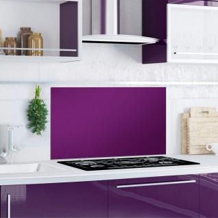 """Küchen Rückwand """" Purple Splash"""" Glas lila, 90x50 Herd Spüle Spritz Schutz Platte"""