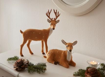 "2 Figuren "" Hirsch & Reh"" in braun, Herbst Winter Tier Deko Statue"