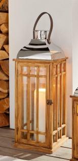 """Laterne """" Wood"""" 60 cm groß Retro Windlicht aus Holz mit Glas, Henkel & Metalldach"""