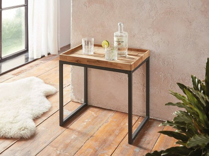 "Holz Beistell Tisch "" Living Wood"", Metall & Akazie, Servier Couch Sofa Pflanzen"