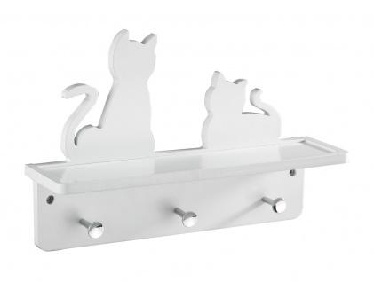 """Wenko Garderobe """" Katzen"""" aus Holz, weiß, mit 3 chrom Haken + Ablage, Wand Paneel - Vorschau 2"""