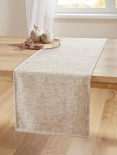 """Tischläufer """" Rustikal"""" beige, 40x140 cm, 100% Chenille, Tisch Band Mittel Decke"""