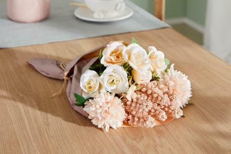 Künstliche Blumen Strauß Rosen 34 cm lang Rosa Creme Kunst Deko Bündel Unecht