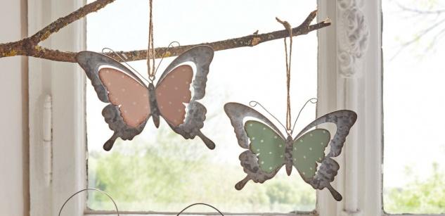2 Schmetterlinge aus Metall in 3D Optik, 12x10 cm, Deko Hänger Fenster Tür Figur