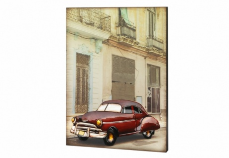 3D Wandbild aus Holz & Metall, Oldtimer rot, Pastell Töne, Wand Deko Bild Poster