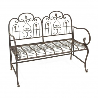 "Sitzbank "" Provence"" aus Metall, braun im Antik Design, Gartenbank, Parkbank - Vorschau 2"