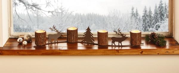 """Lichter Board """" Winterwald"""" Weihnachts Deko Kerzen Halter Ständer Windlicht"""