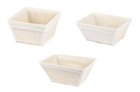 3er WENKO Korb Set Bambus weiß, Brot Küchen Bad Kosmetik Utensilien Aufbewahrung