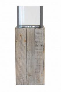 """Windlicht Säule ?Pinienholz"""" Glas Garten Deko Kerzen Teelicht Halter Ständer - Vorschau 3"""