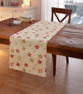 Tischdecke 'Adventssterne? gold rot 85x85cm Tisch Deko Band Läufer Weihnachten