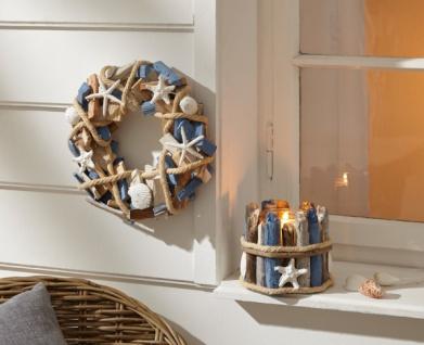 Windlicht 'Seaside? aus Holz maritim Garten Deko Kerzen Teelicht Halter Ständer