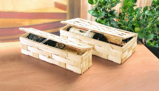Präsent Korb aus Holz Span, groß, Geschenk Koffer, Wein Flaschen Aufbewahrung