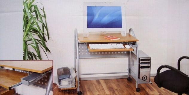 Design Computertisch BOWIE bambus / silber rollbar Schreib Notebook Laptop Tisch