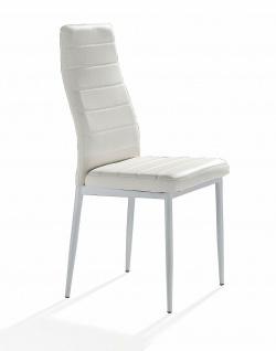 TOMASUCCI 4er Set Design Stühle CAMARO, PU Leder weiß, Esszimmer Küchen Stuhl