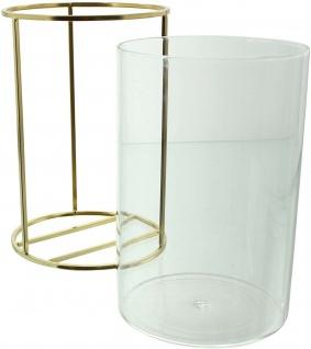 Vase aus Metall & Glas, gold, Windlicht Kerzen Halter Ständer Blumenvase - Vorschau 4