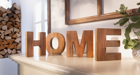 4 tlg. Schriftzug \'Home? Holz Deko Buchstaben Flur Haus Zimmer Tisch ...