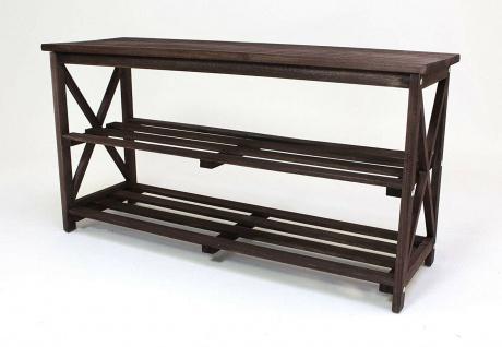Schuhbank aus Holz, dunkel braun, 2 Ebenen, Flur Sitz Bank, Schuh Regal Ablage - Vorschau 3