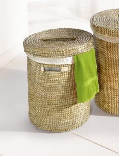 kleiner Wäschekorb aus Seegras, mit Deckel, Wäsche Sammler Truhe Box Sack