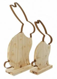 "Hasenpaar ?Hoppel"" aus Holz Hase Deko Figur Hasenfigur Frühling Ostern Osterdeko - Vorschau 3"