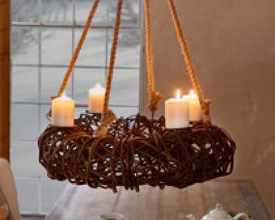 Hange Adventskranz Rustikal Windlicht Kerzen Halter Weihnachten