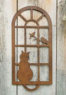 """Wand Deko """" Katze & Fenster"""" aus Metall, Braun, Natur Wand Schmuck Hänger Bild - Vorschau 1"""