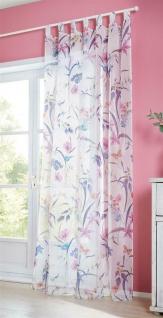 """Dekoschal """" Blütenflor"""" cremeweiß, 140x245 cm, Schlaufen Vorhang Schal Gardine"""