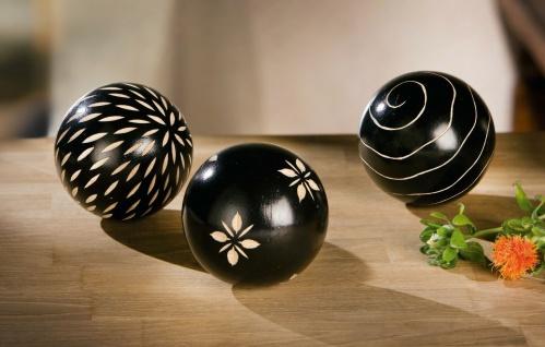 """3x Holz Kugel """" Afrika"""" schwarz, versch. Muster, Ø 10cm, Zier Deko Ball"""