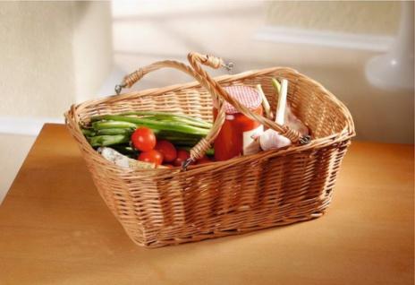 Einkaufs Korb aus Weide, umlegbare Henkel, stapelbar, SB-Korb Obst Picknick Auto