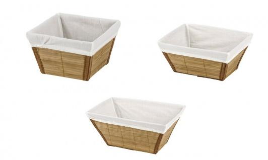 3er WENKO Korb Set Bambus natur Brot Küchen Bad Kosmetik Utensilien Aufbewahrung