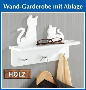 """Wenko Garderobe """" Katzen"""" aus Holz, weiß, mit 3 chrom Haken + Ablage, Wand Paneel"""