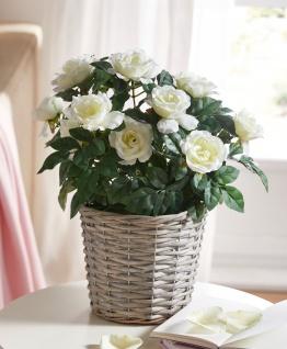 """Kunst Deko Blume """" Weiße Rose"""" 37 cm hohe künstliche Zier Pflanze, täuschend echt"""