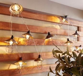 LED Lichterkette 210 cm lang, Retro Metall Laternen Vintage Wand Leucht Deko
