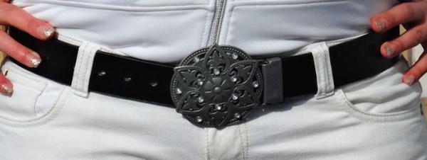 ECHT LEDER DAMEN GÜRTEL schwarz 105cm mit KOPPELSCHLIEßE NEU DAMENGÜRTEL