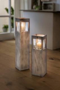 Windlicht Säule 'Shabby-Charme? groß aus Holz & Glas Kerzen Halter Ständer Deko
