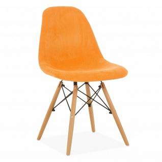 SuperStudio Design Stuhl WOODEN Stoff, orange, Küchen Esszimmer Polster