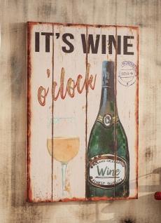 "Wandbild "" Wine"" 40x60 cm, rustikale Wand Deko Bild Retro Look Vintage Holz Optik"