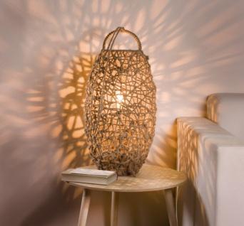 """Design Tisch Lampe """" Flechtkunst"""" aus Metall & Hanf Kordel, Steh Leuchte"""