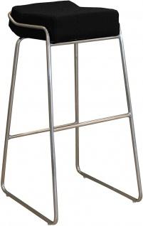 TFT Design Bar Hocker STOOL, chrom / PU Leder schwarz, Küchen Tresen Stuhl