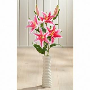 """Kunst Blume """" Lilie"""" 4 rosa Blüten + 2 Knospen, 60 cm hoch, Deko Zweig künstlich"""
