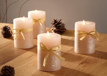 4er Set Wachs Stumpen Kerze creme gold Ø 6 cm lange Brenndauer Advents Kranz