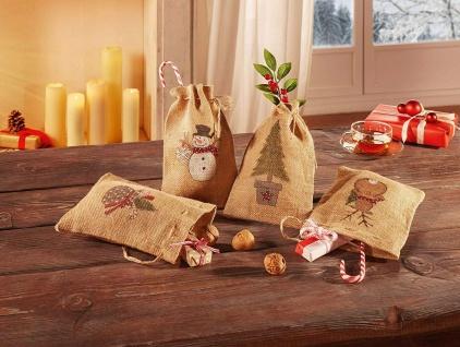 4 Geschenk Beutel aus Jute mit Weihnachts Motiven bedruckt, Sack Säckchen Tasche