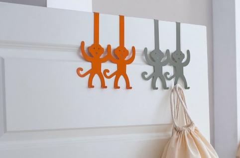 """2x Türhaken """" Affen"""" grau + orange, Tür Garderobe Kleider Halter Handtuch Haken"""