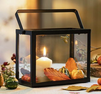 Laterne Purist Wind Licht Kerzen Halter Metall Glas & Henkel Herbst Winter Deko