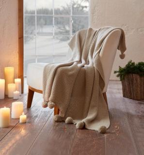 Kuscheldecke 'Pompon? cremeweiß 130 x 160 cm Tages Wohn Sofa Couch Strick Decke